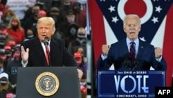 Donald Trump (b) és Joe Biden.