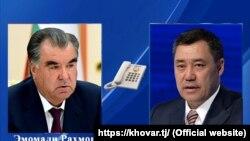 امام علی رحمان رئیس جمهوری تاجیکستان (چپ) و همتای قرغیزستانی اش سدر جباروف
