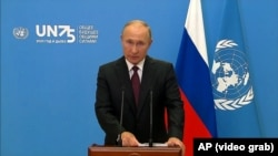 Vladimir Putin addresses the UN General Assembly via a video-link on September 22.