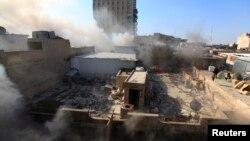 Дим після вибуху поблизу площі Хулані в центрі Багдада, 5 лютого 2014 року