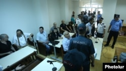 Armenia - Arrested members of an armed opposition group that seized a police station in July 2016 go on trial in Yerevan, 8Jun2017.