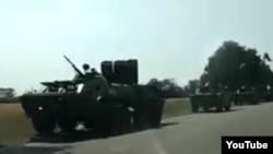 A screen grab from a video purportedly showing Russian troops and equipment being deployed in Transdniester.