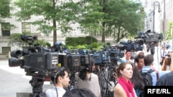 TV cameras outside the New York courtroom where some of alleged Russian spies had a hearing on July 2.