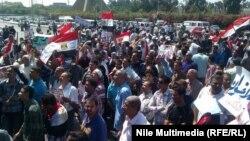 تظاهرة أمام منصة الشهداء في مدينة نصر