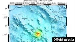 АҚШ геологиялық зерттеулер институты түсірген жер сілкінісінің эпицентрі. Иран, Хорасан, 6 желтоқсан 2012 жыл.