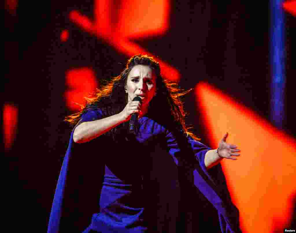 Ukraine's Jamala, a Crimean Tatar, performs her winning song 1944 during the Eurovision Song Contest final in Stockholm. The heart-rending song recalls how Soviet dictator Josef Stalin ordered the mass deportation of her entire nation to Central Asia in 1944. (ITT News Agency/Maja Suslin/via Reuters)