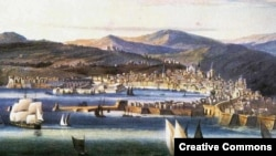 Вид Генуи, 1810-е годы. Акварель