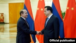 China - Premier Li Keqiang meets with Armenian Prime Minister Hovik Abrahamian, Beijing, 22Sep2015.
