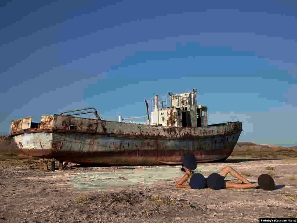 """The Aral Beach 2,"" a 2011 lightbox photographic work by Almagul Menlibaeva (b. 1969) of Kazakhstan. Many of Menlibaeva's works are motivated by deteriorating ecological conditions in her homeland."