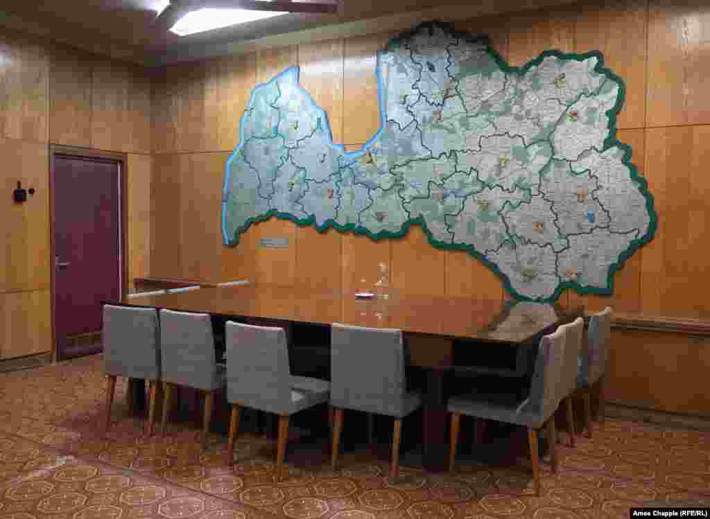 A meeting room inside the bunker, adorned with a map of the Latvian S.S.R.