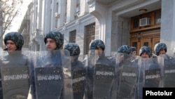 Armenian police at demonstration against election fraud in Yerevan in February