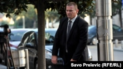 Aleksandar Sindjelic arrives at court to give testimony at the coup trial in Podgorica on October 27.