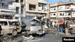 The Al-Zahraa neighborhood has been the target of multiple attacks, including last month (pictured), when at least 22 people were killed in a double suicide bombing claimed by the Islamic State extremist group.