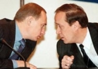 Putin (left) with election commission head Veshnyakov (CTK)