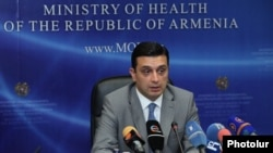 Armenia -- Health Minister Armen Muradian gives a press conference, Yerevan, 1Aug2014
