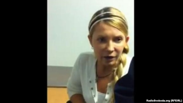 A screen capture of Yulia Tymoshenko from a late-September video.