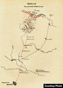 Harta drumului spre Moldova parcurs de grupul Tătăranu-Rădulescu-Iacobescu (Foto: N. Tătăranu, Acum un sfert de veac..., 1940)