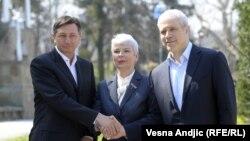 Српскиот претседател Борис Тадиќ и премиерите на Хрватска и на Словенија Јадранка Косор и Борут Пахор