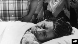 Cesar Chavez suffers from the effects of a 20-day hunger strike in 1972.