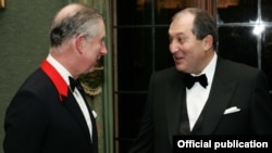 Britain - Prince Charles and former Armenian Prime Minister Armen Sarkissian at a fundraising gala in London.