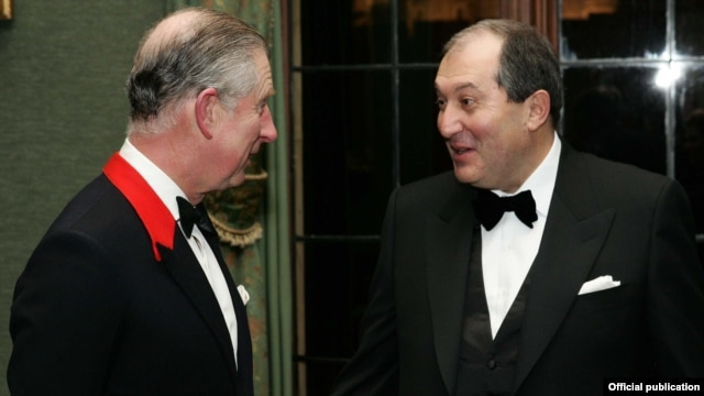 Britain - Prince Charles and former Armenian Prime Minister Armen Sarkisian at a fundraising gala in London.