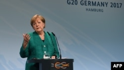 German Chancellor Angela Merkel speaks during the final press conference on the second day of the G20 summit in Hamburg on July 8.