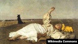 """Юзэф Хелмонскі, """"Бабіна лета"""" (1875)."""