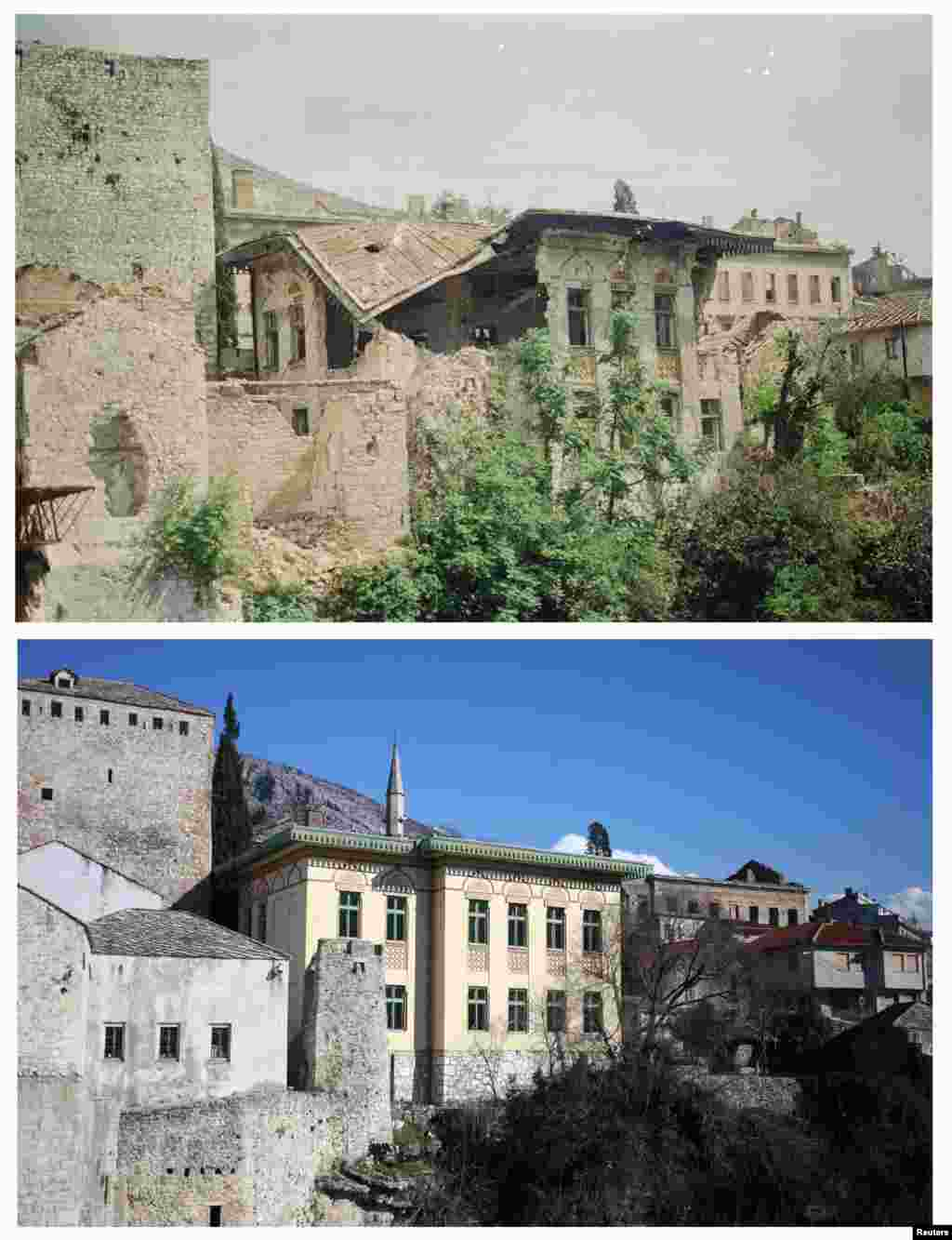 Damaged buildings in the old part of Mostar city in June 1993. The photo underneath shows the same place on February 23, 2013