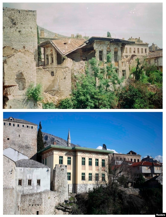 Damaged buildings in June 1993, and the same location in 2013