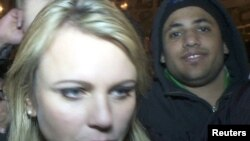 CBS correspondent Lara Logan is pictured on Cairo's Tahrir Square moments before she was assaulted on February 11.
