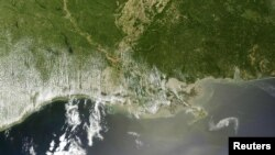 The oil slick, outlined in white, off the Louisiana coast in a Terra satellite image taken on April 29.