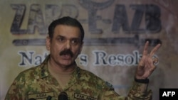 Pakistani Army spokesman Asim Bajwa speaking to reporters in Karachi earlier this year.
