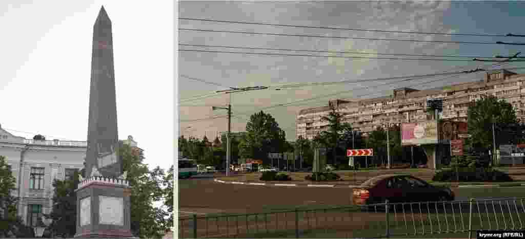 Долгоруковський обеліск в незмінному вигляді, а на площі Московській тепер транспорт мчить суцільним потоком