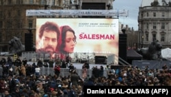 Crowds gather in Trafalgar Square, London, for a public screening of the film The Salesman on February 26.