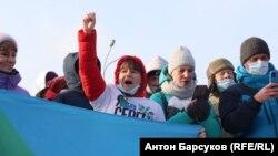 Яна Дробноход на акции протеста