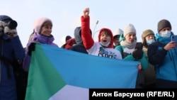 Яна Дробноход на акции протеста (архивное фото)