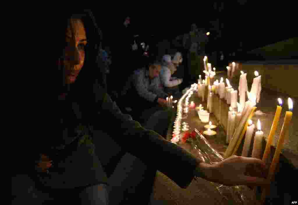 Траурные церемонии в память о погибших. Гюмри, 13 января