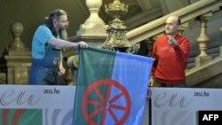 Прапор ромів в Етнографічному музеї в Будапешті, 8 квітня 2011 року