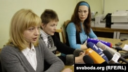 Three wives of Belarusian political prisoners held a press conference to discuss their husbands plight: Iryna Khalip (left), Matyna Adamovich (center), Volha Bandarenka (right).