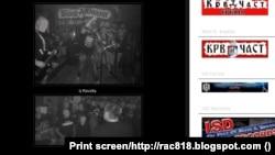 Az Iz Revolta és a Kristalna Noty szerb neonáci együttesek dátum nélküli promófotói, kitakart arcokkal.