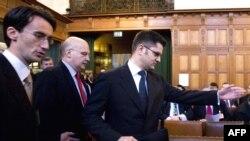 Шефот на српската дипломатија Вук Јеремиќ и српскиот амбасадор во Франција Душан Батаковиќ во Хаг