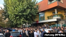 Kosovars waiting in line to buy tickets for the Kosovo versus Malta soccer match.