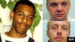 A combo photo shows Gary Dobson (top right) and David Norris, the two men accused of murdering teenager Stephen Lawrence (left) in 1993.