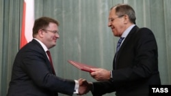 Russian Foreign Minister Sergei Lavrov and South Ossetia's de facto Foreign Minister David Sanakoyev.