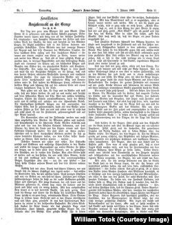 """""""Noaptea anului nou lîngă frontieră"""", un foileton, publicat de Kappus în """"Danzer's Armee-Zeitung"""", Nr. 1, 7. 1. 1909, pp. 11-12."""