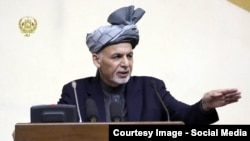 Afghanistan - President Mohammad Ashraf Ghani in parliament addressed MPs about the future of peace or war against Taliban group, 25 April 2015