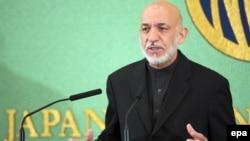 Хамід Карзай на прес-конференції 9 липня 2012 року в Токіо, куди він прибув для участі в міжнародній конференції щодо Афганістану