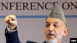 Президент Афганистана Хамид Карзай на международной конференции в Кабуле.