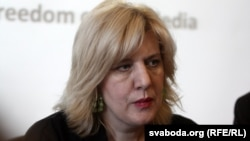 Belarus - Dunja Mijatovic, the OSCE Representative on Freedom of the Media Freedom, at a news conference. Minsk, 04Jun2013
