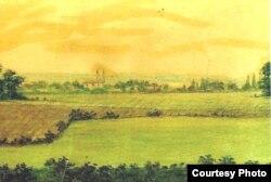 Жыбартоўшчына. Карціна дачкі Ігната Дамейкі Ганны, 1908 год.